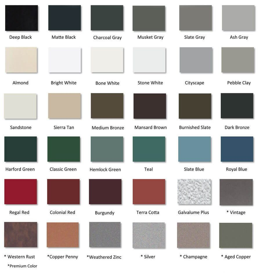 color chart roof colors